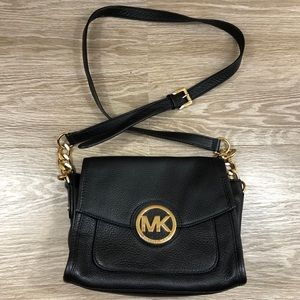 Michael Kors gold black leather square crossbody